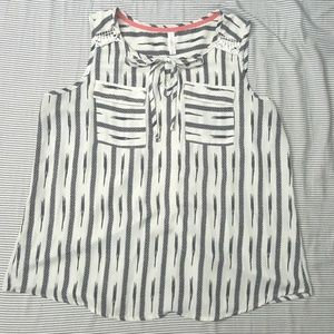 Striped Blouse with Lace Detail Back & Tie Front